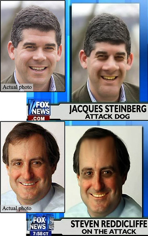 . July 2008: In response to a New York Times story that suggested the FOX network�s ratings might be slipping, the co-hosts of �Fox & Friends� broadcasted photos of Times reporter Jacques Steinberg and editor Steven Reddicliffe. The photos were doctored to make the journalist appear less attractive. A FOX spokeswoman said the executive in charge of �Fox and Friends� is on vacation and not available for comment but added that altering photos for humorous effect is a common practice on cable news stations.  SOURCE: http://www.cs.dartmouth.edu/farid/research/digitaltampering/