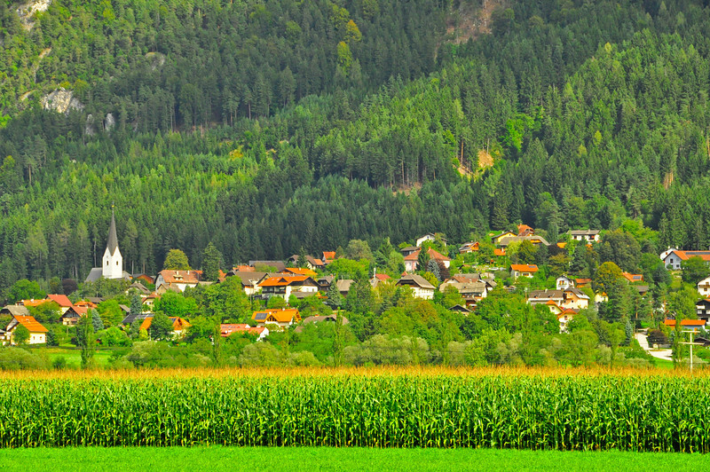 typical Austrian town,  rimmed by cornfields