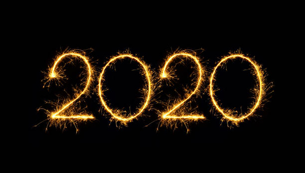 Happy New Year 2020 text handmade written sparkles fireworks. Beautiful Shiny Golden numbers isolated on black background for design