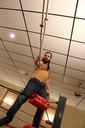 "Handicap Country Whipping Match Derrick Conway, ""Hot Shot"" Deshawn  & Joey Rage with Chris Venom vs. LumberJake"