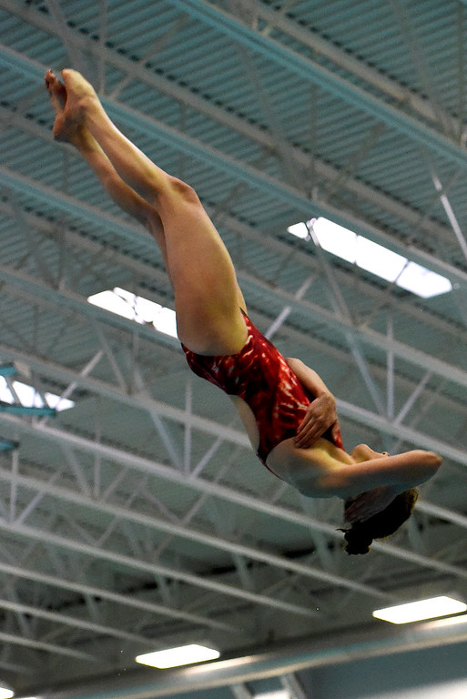 . Regis Jesuit\'s Mckensi Austin executes her final dive securing her first place finish during the girls 5A State Swim meet held at Edora Pool and Ice Center on Saturday. (Photo by Kira Horvath/ The Denver Post)