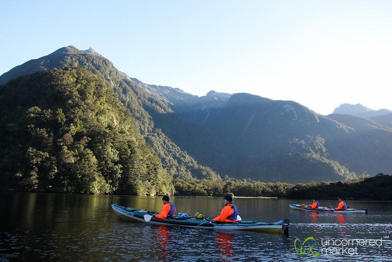 Kayaking at Dawn - Doubtful Sound, New Zealand