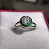 1.30ctw Old European Cut Diamond Emerald Target Ring 9