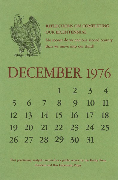 December, 1976, Herity Press
