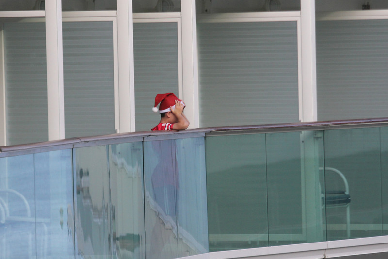 Christmas Day - boy on the cruise ship beside us