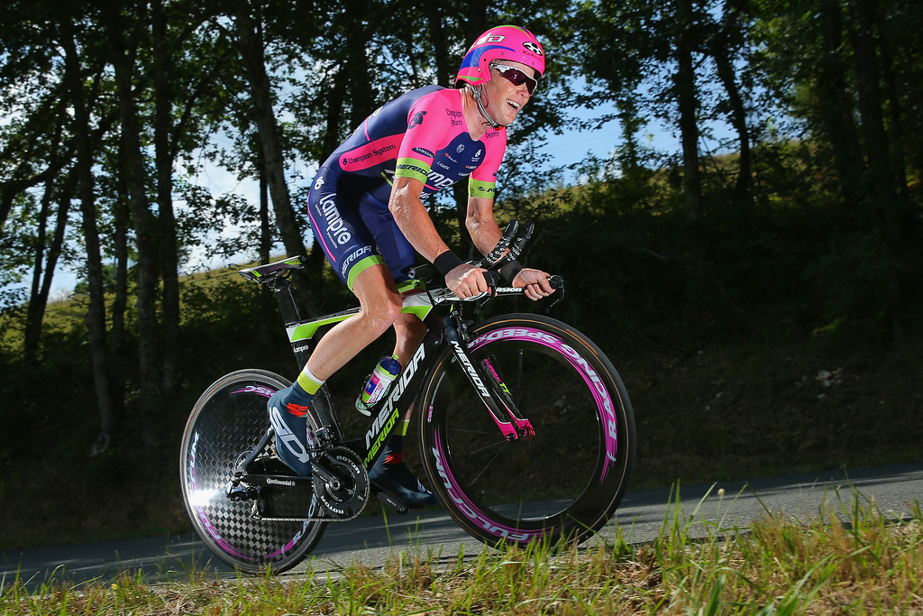 . Chris Horner of the United States and Lampre-Merida races in the individual time trial during the twentieth stage of the 2014 Tour de France, a 54km individual time trial stage between Bergerac and Perigueux, on July 26, 2014 in Perigueux, France.  (Photo by Doug Pensinger/Getty Images)