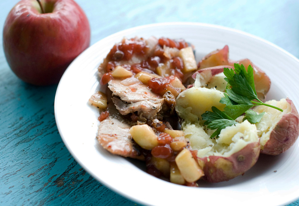 ". Mirin Pork Chops with Apple Chutney. <a href=""http://www.masslive.com/living/index.ssf/2012/09/give_pork_big_flavor_without_a_long_shopping_list.html\"">Get the recipe</a>. (AP Photo/Matthew Mead)"