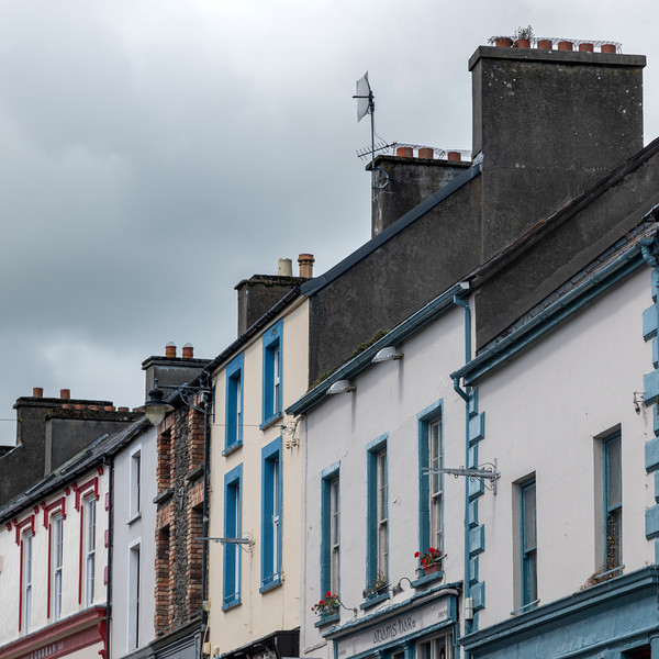 Low angle view of houses in row, Dingle, Dingle Peninsula, County Kerry, Republic of Ireland