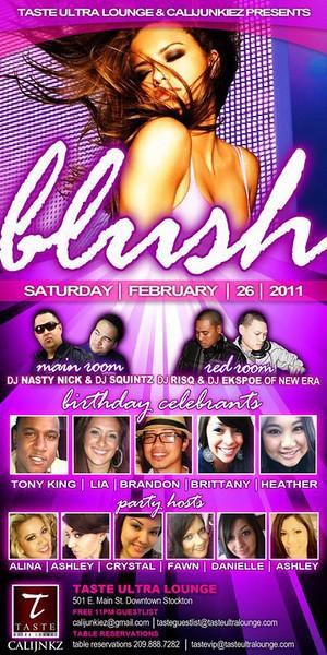 Taste Ultra Lounge & CaliJunkies presents BLUSH @ TASTE Ultra Lounge -Stockton 2.26.11