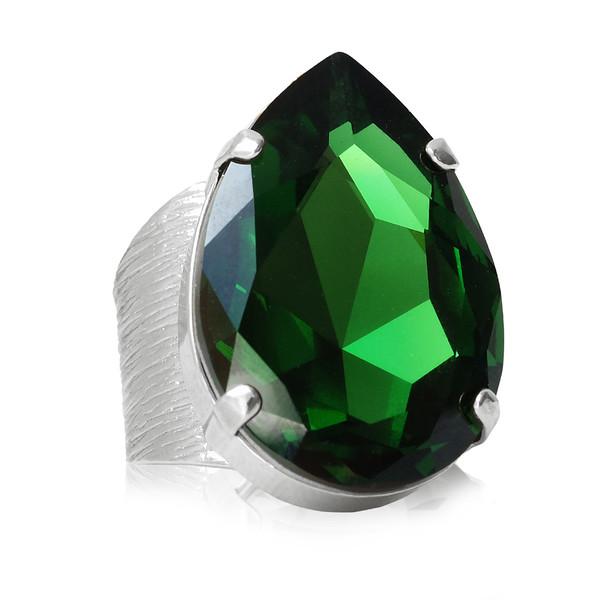 Perfect Drop Ring / Dark Moss Green / Rhodium