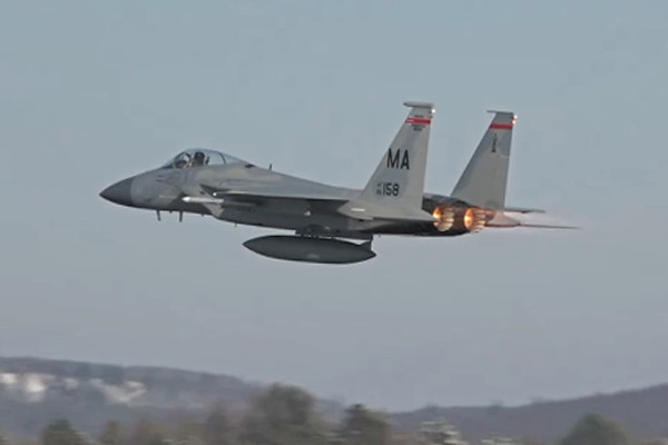 1-18-18...four F-15s (two with single tanks) taking off...AWESOME UNRESTRICTED CLIMB...stills of first two landing