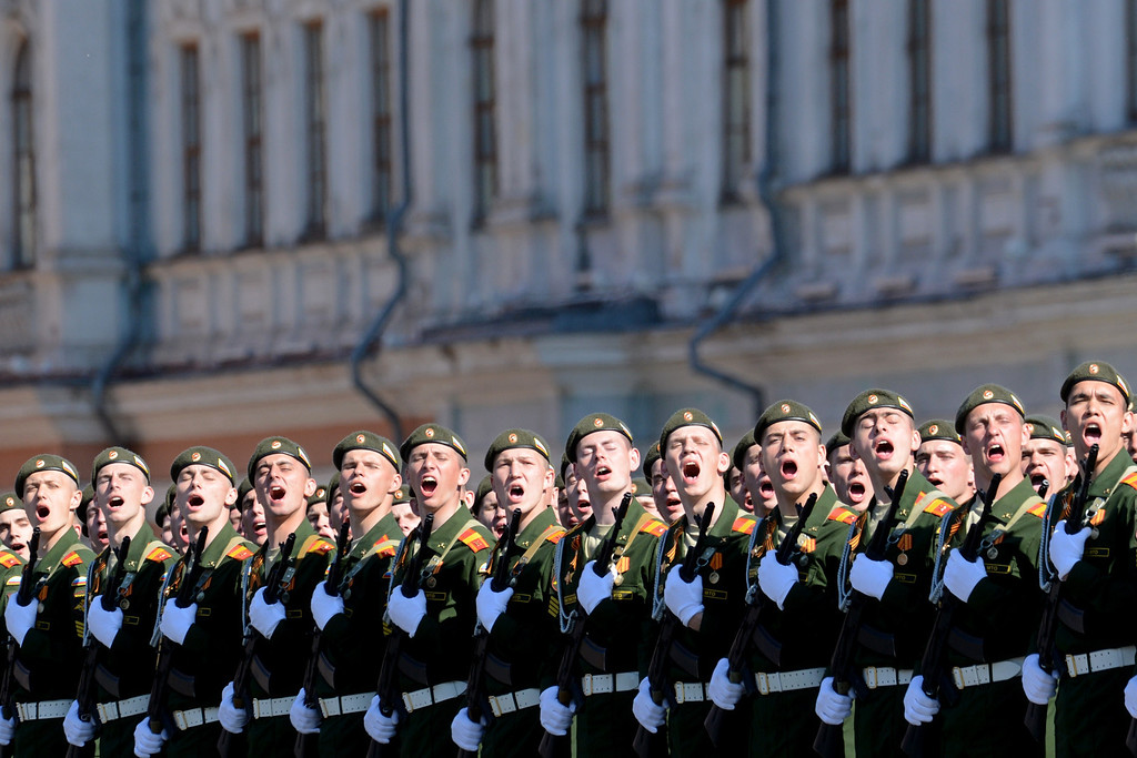 . Russian military academy cadets shout at the Red Square in Moscow, on May  9, 2014, during a Victory Day parade.  AFP PHOTO / KIRILL KUDRYAVTSEV/AFP/Getty Images