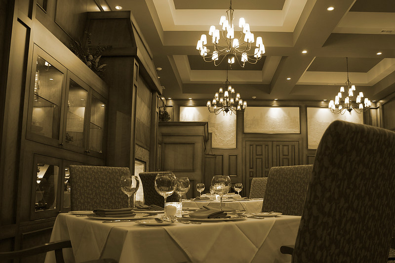 One of the dining rooms in the Bears Den restaurant in Calgary.