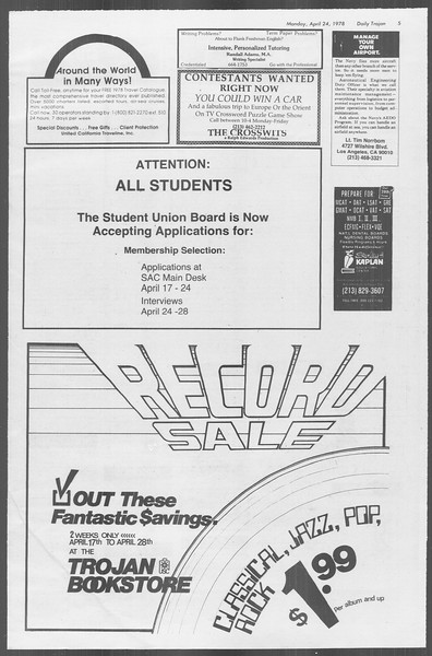 Daily Trojan, Vol. 73, No. 46, April 24, 1978