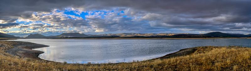 Puente Nuevo reservoir, Guadiato river, province of Cordoba, Spain. High resolution panorama.