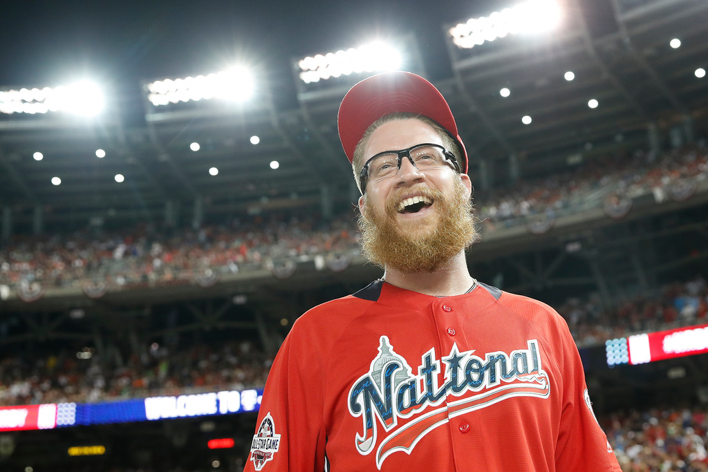. Washington Nationals pitcher Sean Doolitte walks across the field dafter the MLB Home Run Derby, at Nationals Park, Monday, July 16, 2018 in Washington. The 89th MLB baseball All-Star Game will be played Tuesday. (AP Photo/Alex Brandon)