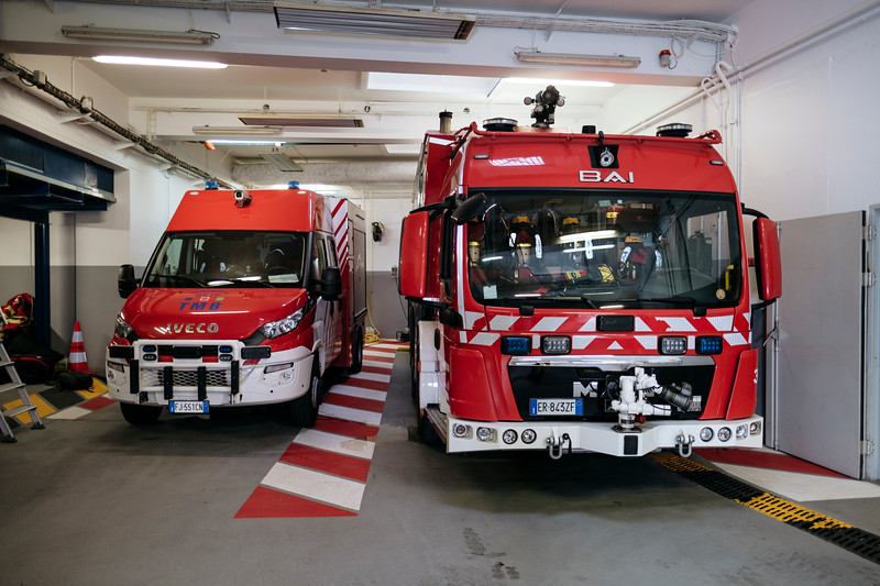 A Proteus truck (right) in the French side firefighter hangar - Samuel Zeller for the New York Times