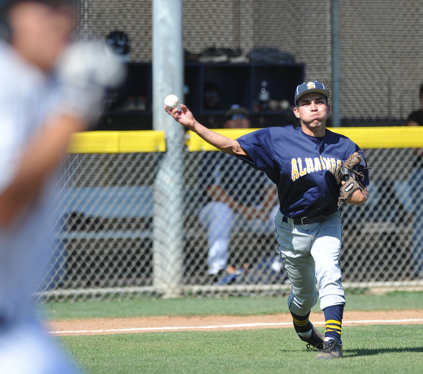 . Montebello plays Alhambra in their Almont League baseball game at Montebello High School in Montebello  on Friday April 19, 2013. (SGVN/Staff Photo by Keith Durflinger)