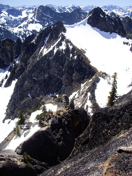 Looking down at climbers coming across the whaleback.