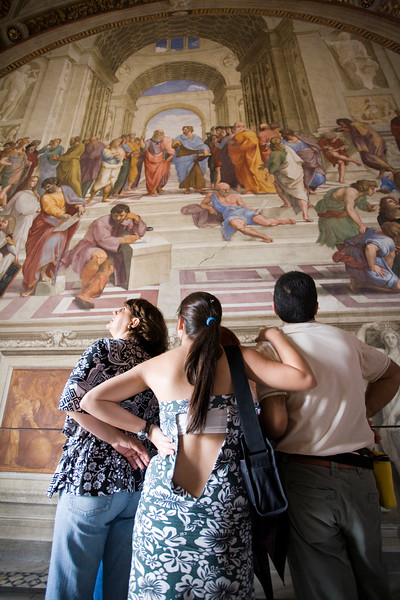 Visitors admiring the School of Athens painting, Rapahel's rooms, Vatican museums