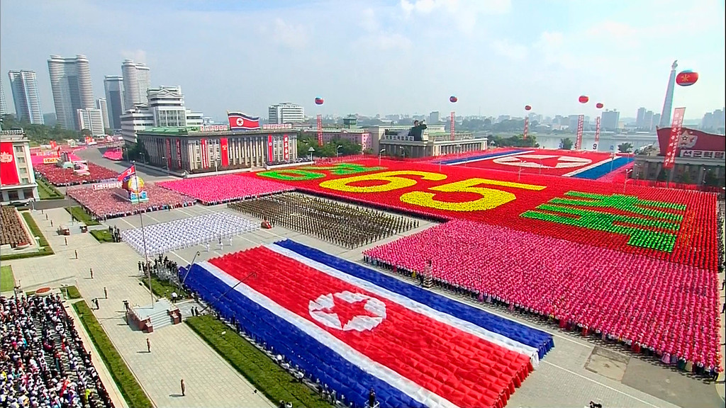 . In this image taken from video North Korean soldiers and performers participate in a mass military parade to celebrate the 65th anniversary of the country\'s founding, Monday, Sept. 9, 2013, in Pyongyang, North Korea. (AP Photo/KRT via AP Video)