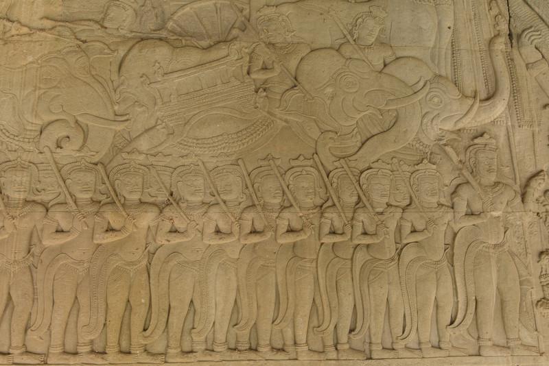 Angkor Wat, carvings in the galleries.