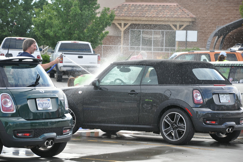DIY car wash is a popular and welcome activity for most MINI owners on tour. Grand Junction.
