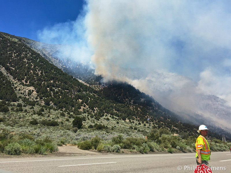 Fire above highway 395 near Lee Vining
