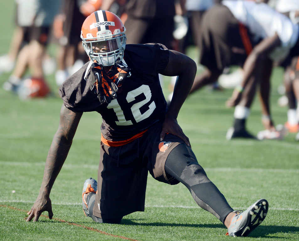 . Duncan Scott/DScott@News-Herald.com Josh Gordon stretches as the Cleveland Browns opened training camp on July 26 with their first practice at Browns headquarters in Berea.