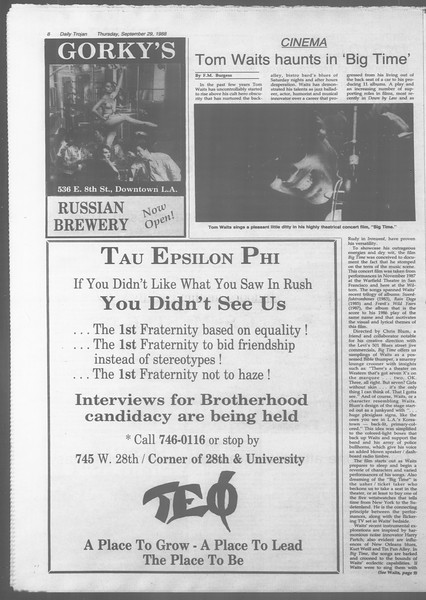 Daily Trojan, Vol. 107, No. 17, September 29, 1988