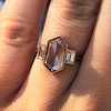 1.96ctw Fancy Golden Brown Hexagon Diamond and Baguette Trilogy Ring 9