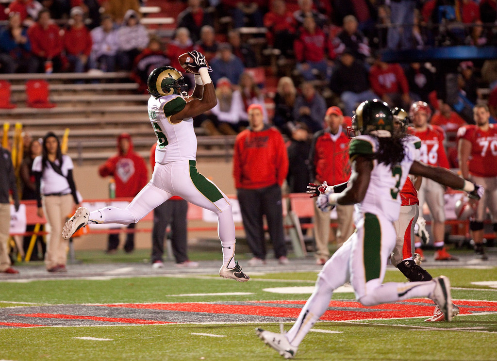 . Colorado State safety Trent Mathews catches the ball for an interception against New Mexico in the first half of an NCAA college football game on Saturday, Nov. 16, 2013 in Albuquerque, N.M. (AP Photo/Eric Draper)