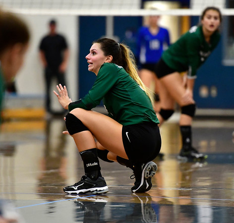10/2/2019 Mike Orazzi | StaffrMaloney High School's Lauren Matias (3)rduring a girls volleyball match with Bristol rEastern on Wednesday.