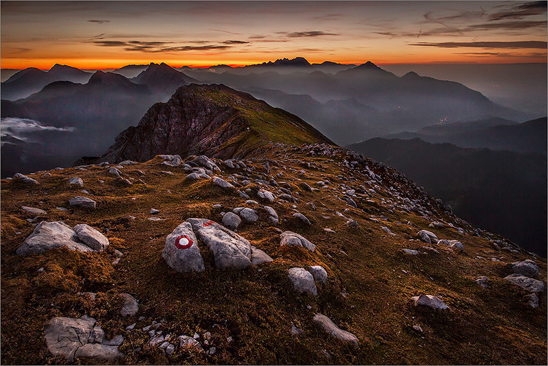 Sunrise on Begunjščica