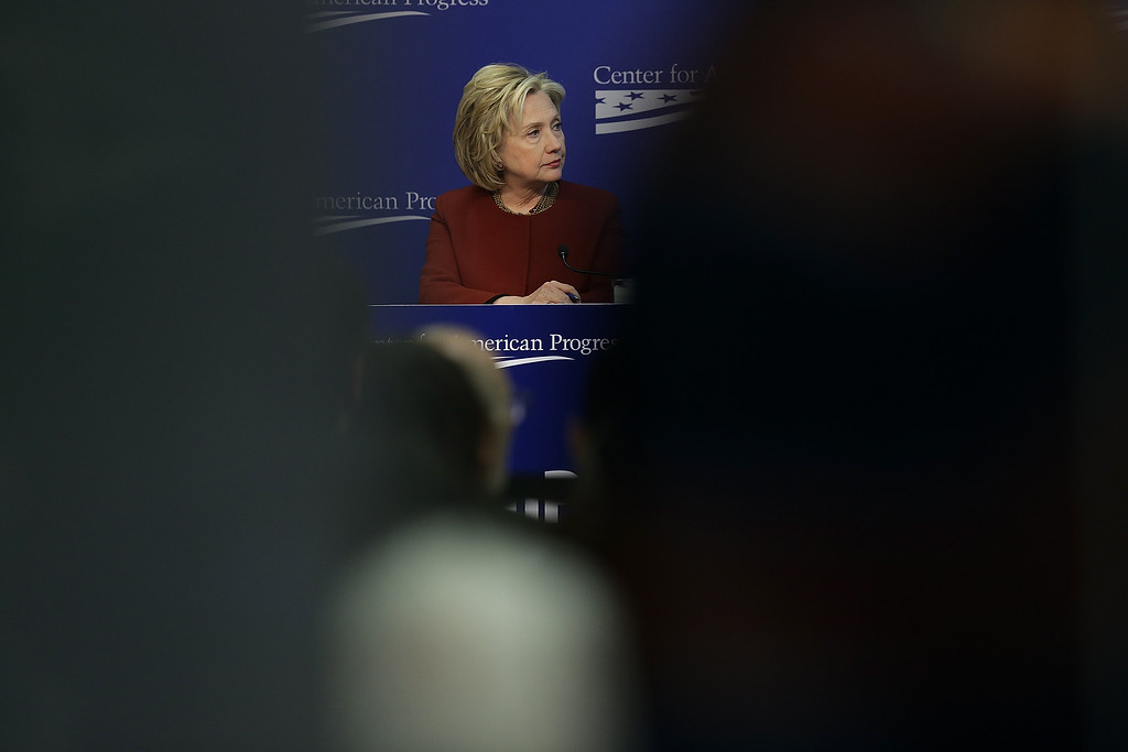 . Former U.S. Secretary of State Hillary Clinton speaks at the Center for American Progress March 23, 2015 in Washington, DC.  (Photo by Win McNamee/Getty Images)
