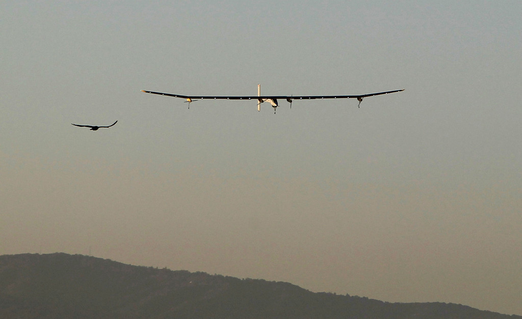 . A bird accompanies the Solar Impulse, the experimental airplane, as it comes in for landing after a test flight at Moffett Airfield in Mountain View, Calif. Friday morning April 19, 2013. (Patrick Tehan/Staff)