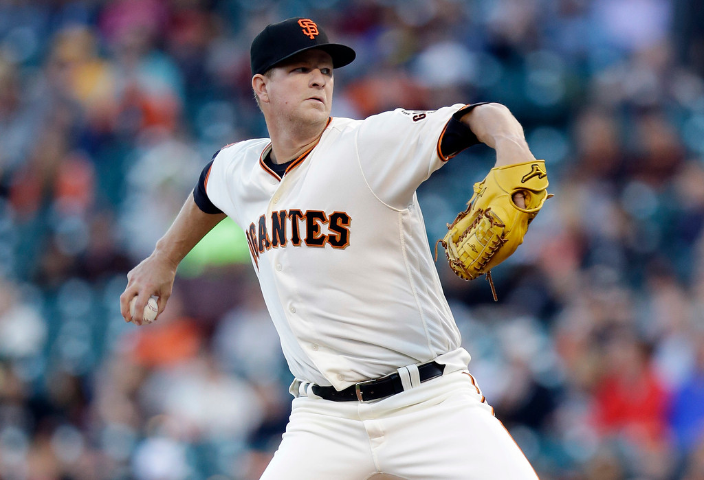. San Francisco Giants starting pitcher Matt Cain throws to the Colorado Rockies during the first inning of a baseball game Thursday, May 5, 2016, in San Francisco. (AP Photo/Marcio Jose Sanchez)