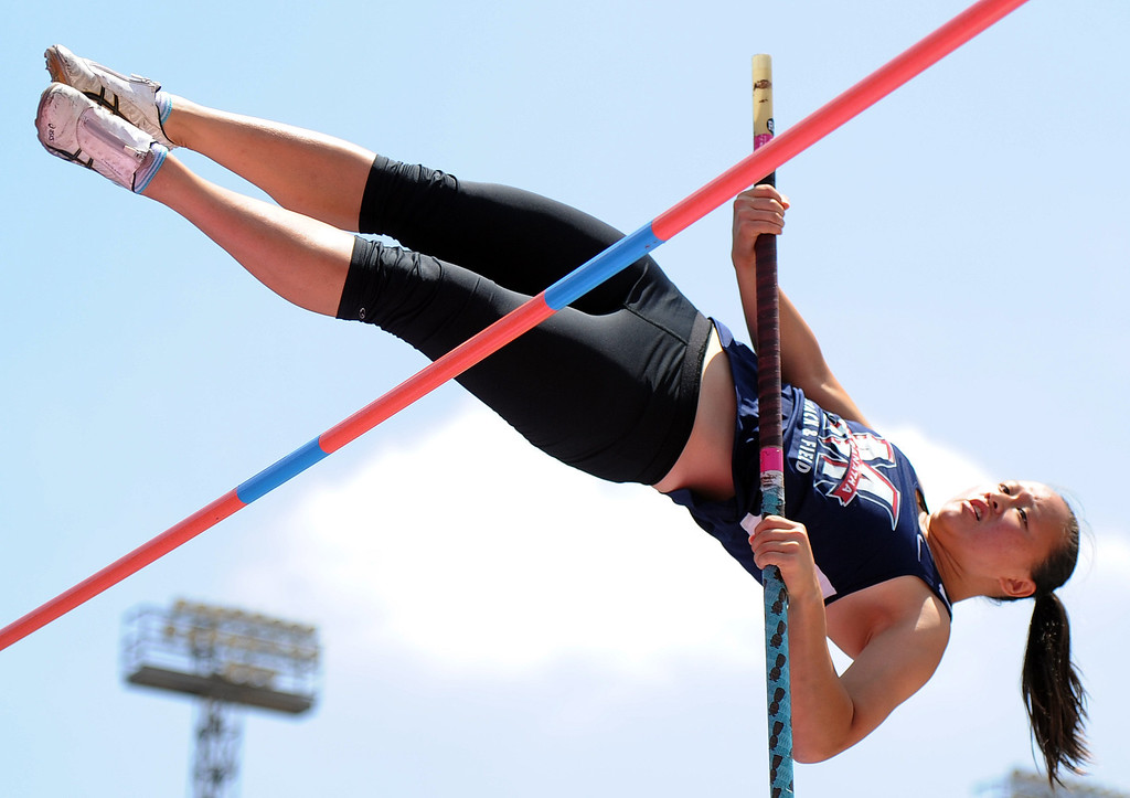 . Maranatha\'s Zoe Wilkens in the pole vault during the CIF-SS track & Field championship finals in Hilmer Stadium on the campus of Mt. San Antonio College on Saturday, May 18, 2013 in Walnut, Calif.  (Keith Birmingham Pasadena Star-News)