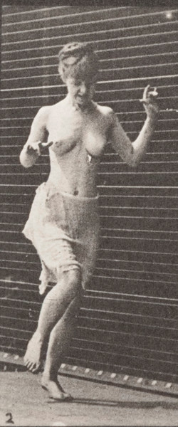 Semi-nude woman hopping on left foot