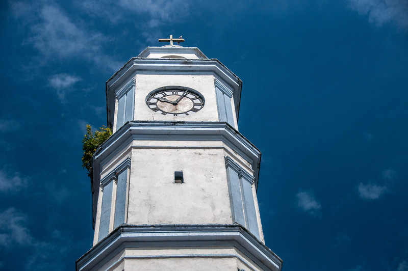 Clock tower of San Cristobal Church, Tlacotalpan, Mexico