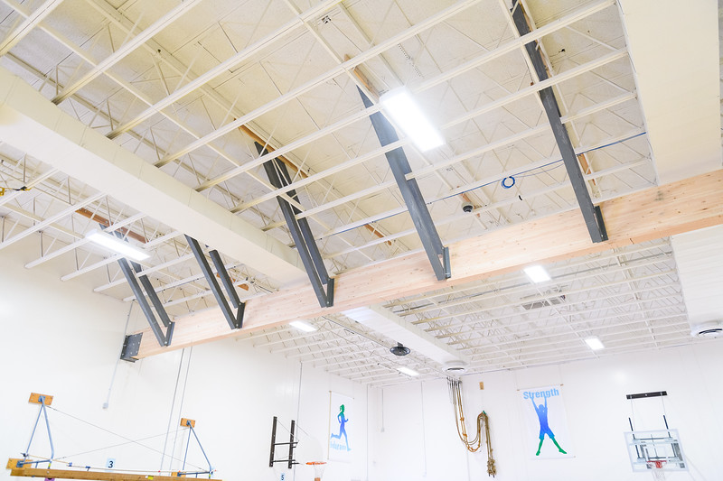New steel supports and bracing for the laminate beam gym curtain at Gubser Elementary on Friday, August 16, 2019, in Keizer, Ore.