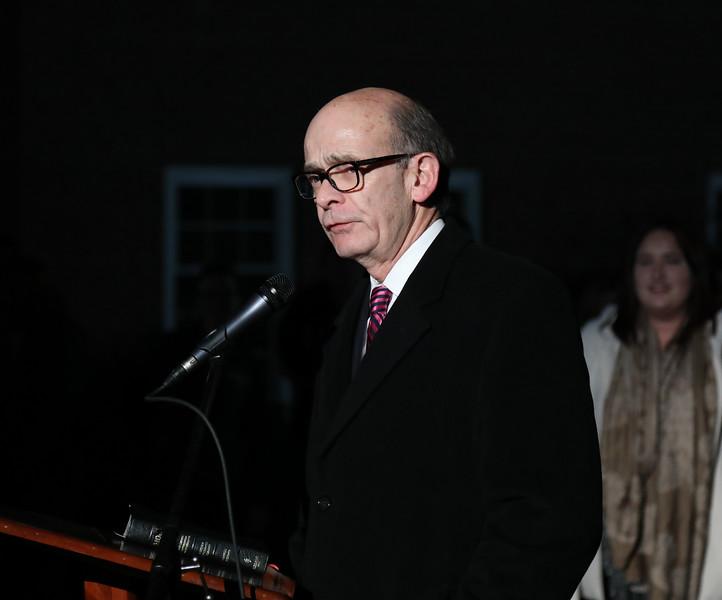 GWU President Dr. Frank Bonner speaking at the Festival of Lights.