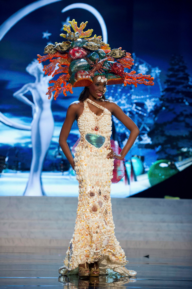 . Miss British Virgin Islands Abigail Hyndman performs onstage at the 2012 Miss Universe National Costume Show at PH Live in Las Vegas, Nevada December 14, 2012. The 89 Miss Universe contestants will compete for the Diamond Nexus Crown on December 19, 2012. REUTERS/Darren Decker/Miss Universe Organization L.P./Handout