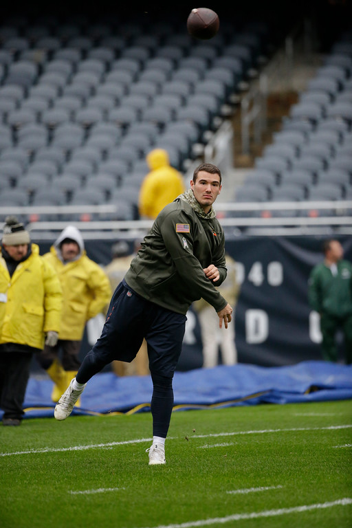. Chicago Bears\' Mitchell Trubisky warms up before an NFL football game against the Green Bay Packers, Sunday, Nov. 12, 2017, in Chicago. (AP Photo/Nam Y. Huh)