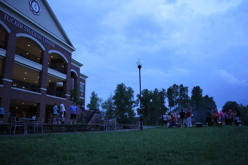 Seniors enjoyed hanging out together, making smores, and eating pizza before they started the lantern send off ceremony.
