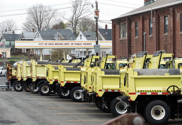 11/15/18 Wesley Bunnell   Staff New Britain Public Works trucks were being prepped and loaded with salt in anticipation of the upcoming winter storm schedule to hit New England Thursday evening into Friday.