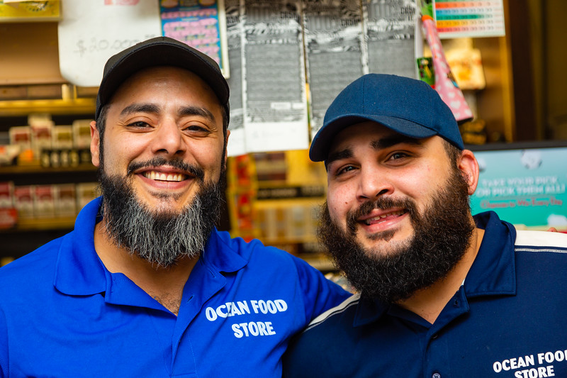 Mohammad Baker, left and Matt  Muhaisen, employees at the Ocean Food Mart heard accident and called 911 and stayed with Williams until paramedics arrived.[JOSEPH FORZANO/palmbeachpost.com]
