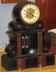 A Large French Slate Mantel Clock