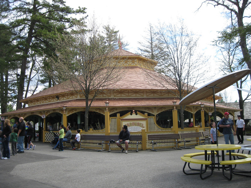 Carousel building with new coppery roof.