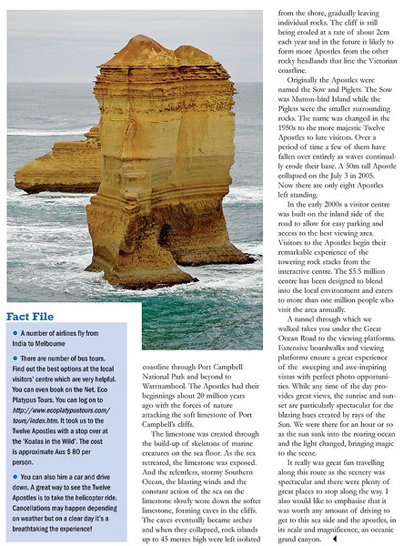 "Footloose: ""Ocean 12: The Apostles"" article by Anu (Arundhathi) and pictures by Suchit (Nanda) in the BTW Magazine (By The Way) 30th July 2007 issue.  